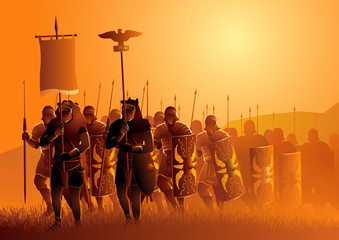 Ancient Rome legionary march in the grass field