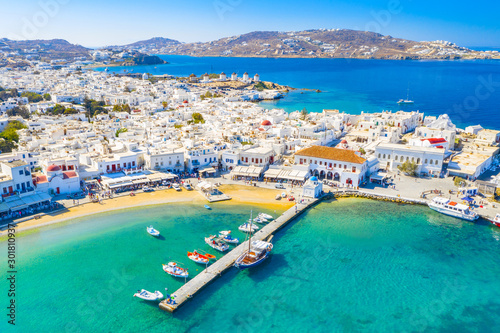 Panoramic view of Mykonos town, Cyclades islands, Greece #301810937