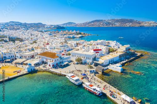 Obraz Panoramic view of Mykonos town, Cyclades islands, Greece - fototapety do salonu