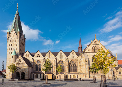 Foto op Canvas Noord Europa Catholic Paderborn Cathedral St. Liborius is mainly of the 13th century. The western tower of the 12th century. Germany, Europe