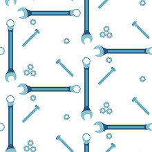 Seamless Pattern Of Spanners, Bolts And Nuts On A White Background. Vector.
