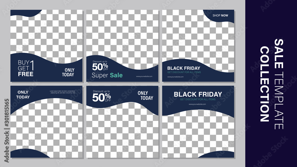 Fototapeta Sale template collection for promotion sale. Editable banner for social media post, web and internet. Black friday holiday event.