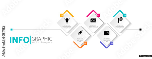 Photographie  Infographic design and marketing icons, vector rhombuses