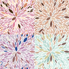 Vector Set Of Seamless Abstract Floral Patterns. Endless Texture Made Of Petals In 4 Color Variations Of Muted Colors. Nice Designs For Fabric, Textile And Surfaces.