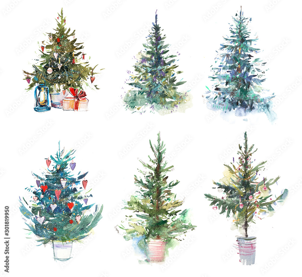 Fototapety, obrazy: Decorated christmas tree New year Watercolor illustration Water color drawing