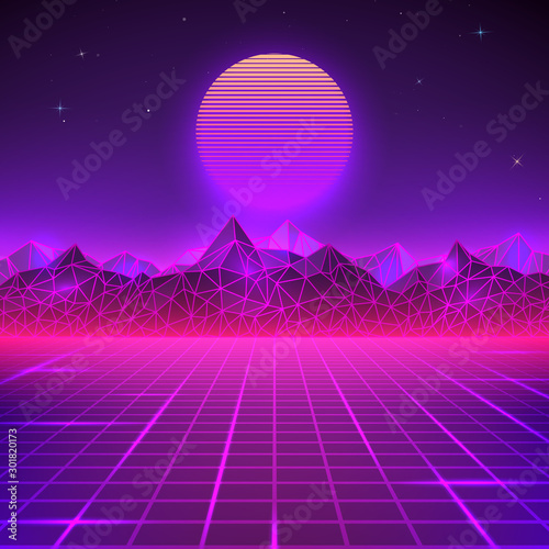 Montage in der Fensternische Violett Retro landscape in purple colors. Futuristic planet neon mountains and sunset background. Sci-fi abstract geometric landscape. Vector illustration