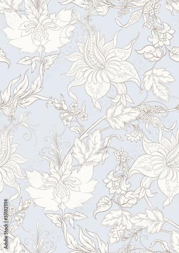Fényképezés Fantasy flowers in retro, vintage, jacobean embroidery style