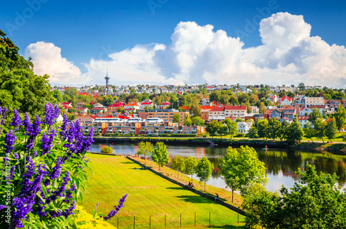 Autocollant pour porte Europe du Nord Panoramic view of beautiful city Trondheim, Norway