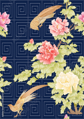 Photo Peony tree with flowers with pheasants in the style of Chinese painting and Japanese embroidery Sashiko