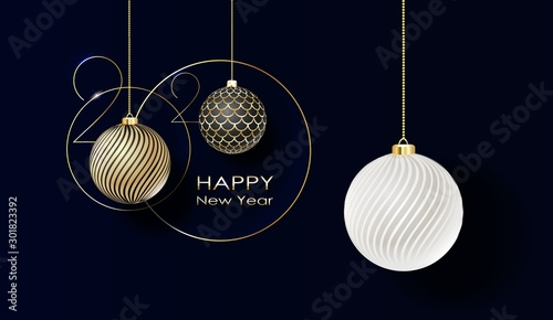 Holidays greeting card with abstract doodle Christmas ball. Vector
