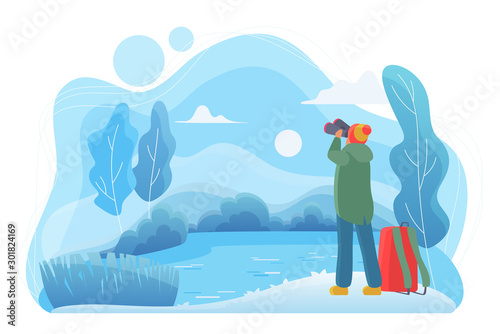 Foto auf Leinwand Pool Man traveler with binoculars flat vector illustration. Nature lover cartoon character. Man looking at landscape in cold winter day. Wildlife observation, traveling. River, forest, lake