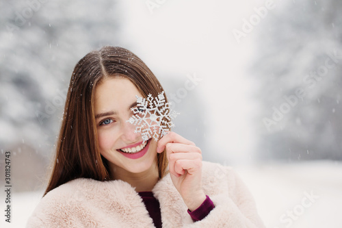 Fotografie, Obraz  beautiful girl in winter forest