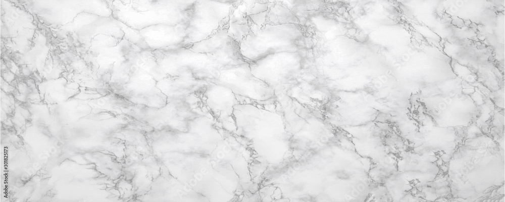 Fototapeta Marble background.White stone texture with gray shadow.Panoramic format.
