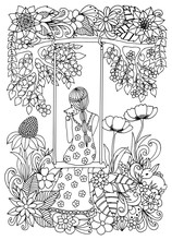 Vector Illustration  Girl With A Kitten On A Swing. Dudling. Coloring Book Anti Stress For Adults. Black And White.