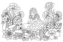 Vector Illustration Girl With Her Dog In Flowers. Dudling. Coloring Book Anti Stress For Adults. Black And White.