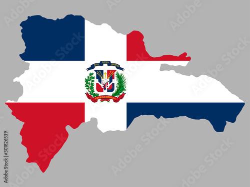 Obraz na płótnie Dominican republic map flag vector