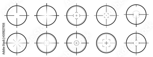 Set of vector Aim icons isolated. Canvas Print