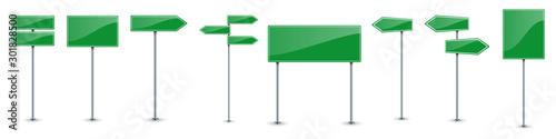 Fototapeta Set of green road text panels. Vector road signs. obraz