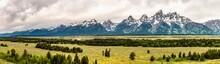 Panoramic View Of Grand Teton Range In Grand Teton National Park