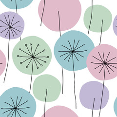 Fototapeta Do sypialni Seamless abstract floral pattern with hand drawn dandelion flowers black outline and pastel colors on white background. Vintage retro style. Vector eps10.
