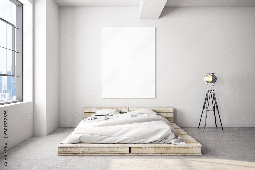 Fototapeta White bedroom interior