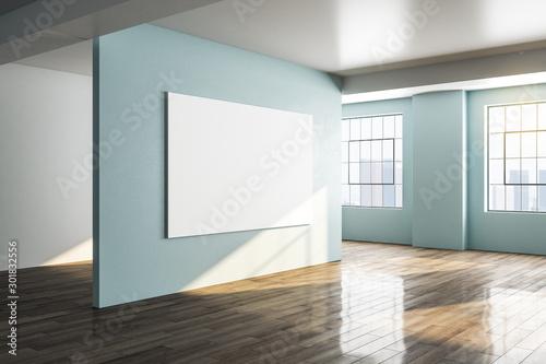 Obraz Modern gallery interior with city view - fototapety do salonu