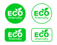 Set Of Green ECO Stickers. Eco Friendly Environment