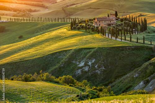 Farma w Toskanii, Włochy, zielone wzgórza podczas zachodu słońca - fototapety na wymiar