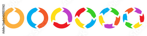 Obraz Set of circle arrows for infographic. - fototapety do salonu