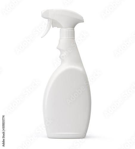 Fototapeta White plastic spray bottle isolated on white background