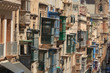 canvas print picture - Historical old colorful balconies in Valletta, Malta