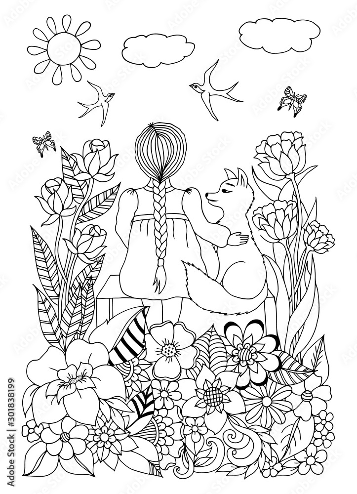Vector illustration, baby girl sitting on a bench with a fox surrounded by flowers. Doodle drawing. Meditative exercises. Coloring book anti stress for adults and children. Black white.