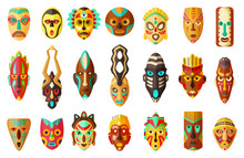 African Mask Cartoon Set Icon....