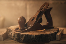 Old Wood Planer In The Carpent...