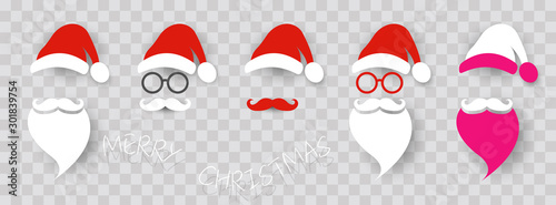 Santa Claus fashion hipster style set icons. Santa hats, moustache and beards, glasses. Christmas elements for your festive design. Vector illustration isolated transparent background