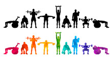 Detailed Vector Illustration Silhouettes Strong Rolling People Set Girl And Man Sport Fitness Gym Body-building Workout Powerlifting Health Training Dumbbells Barbell. Healthy Lifestyle