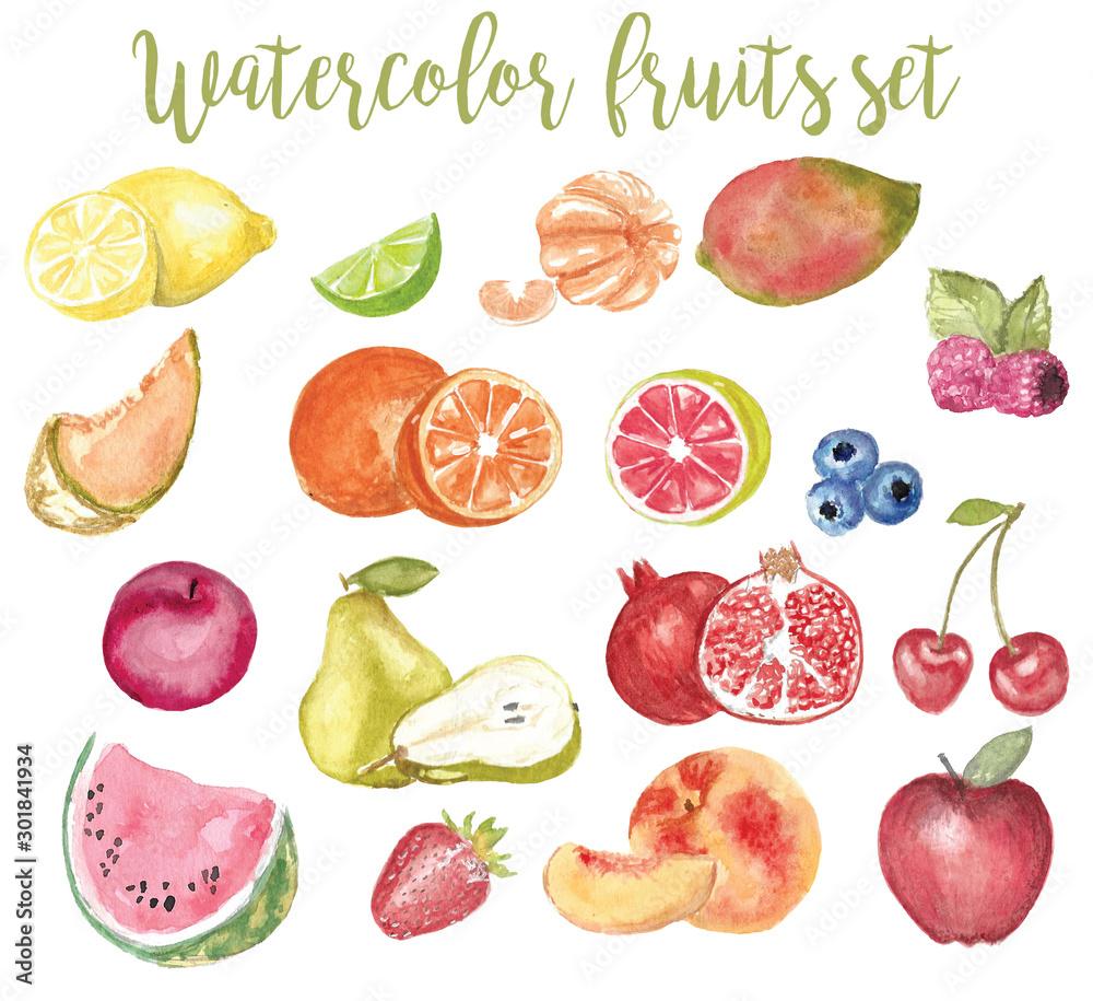 Fototapety, obrazy: watercolor fruit illustration set