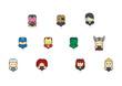 Leinwanddruck Bild - Icon The Avengers Age of Ultron and pantone of them.