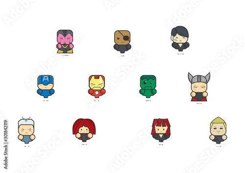 Icon The Avengers Age of Ultron and pantone of them. Canvas Print