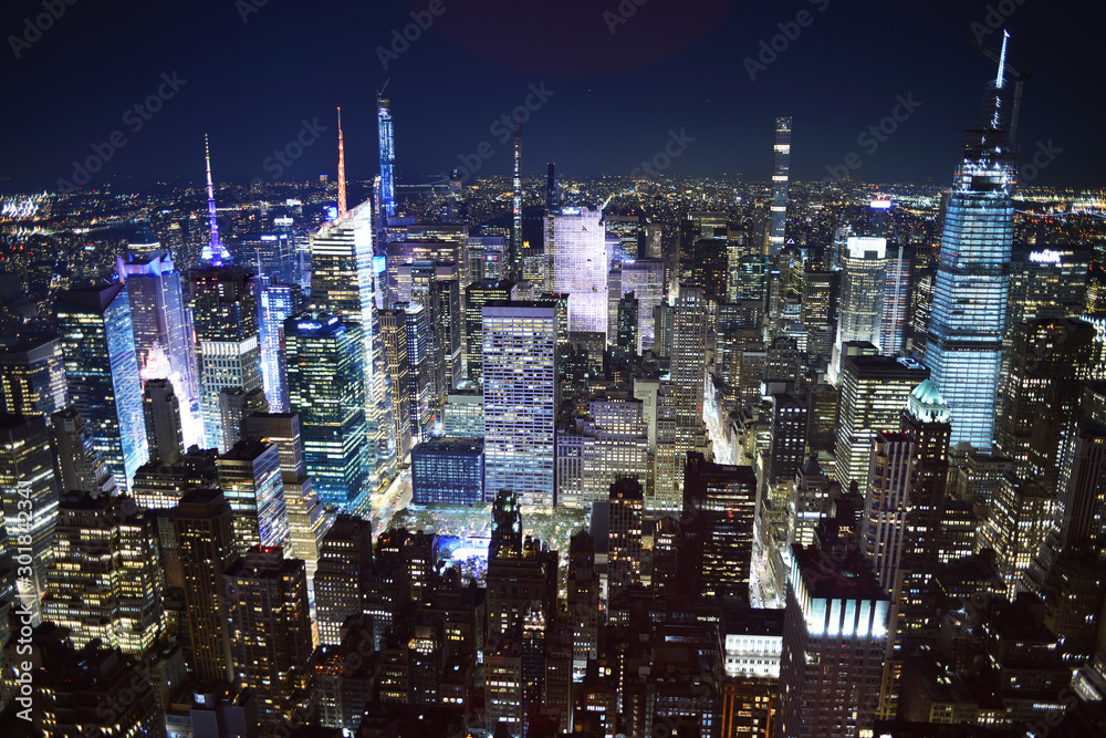 Poster New York City Night Time View From Empire State Building Nikkel Art