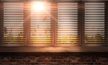 Large Wooden Window. Wooden Table, Sunshine. Wooden Blinds. Old Brick Wall. Room With A Large Window.