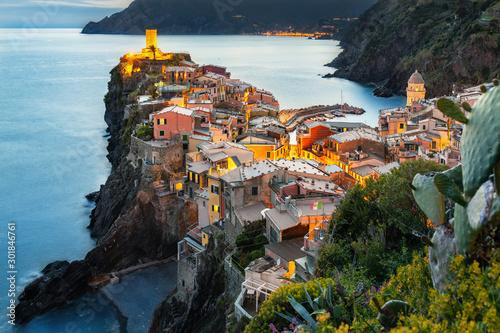 Fototapety, obrazy: Vernazza zachód słońca, Cinque Terre, Liguria, La Spezia, Włochy