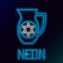 Blue Glowing Neon Line Decanter With Star Of David Icon Isolated On Black Background. Pottery Jug. Organic Product In Carafe. Colorful Outline Concept. Vector Illustration