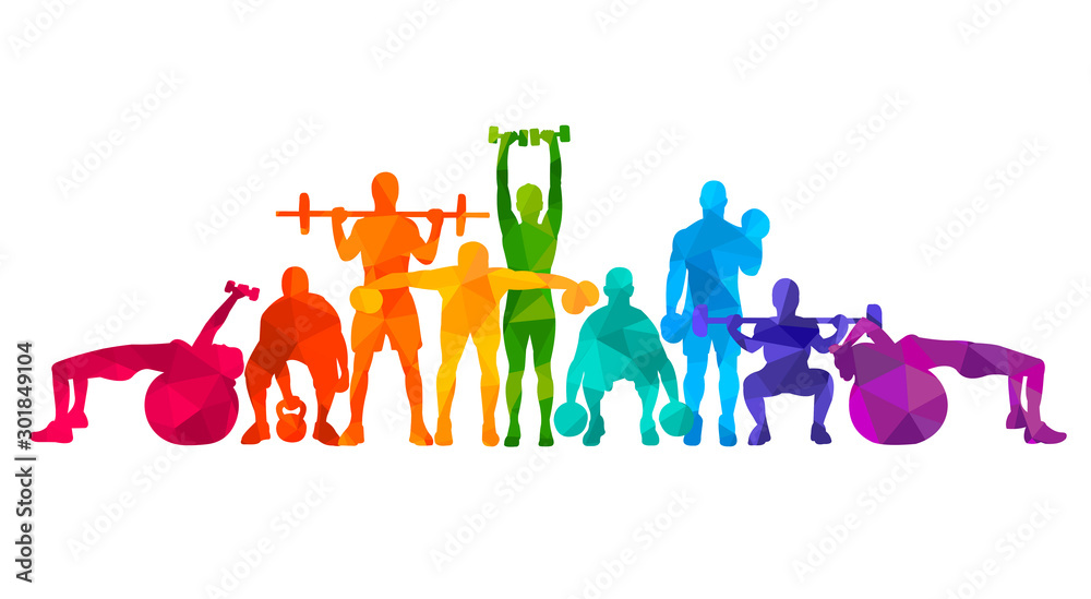 Fototapeta Detailed vector illustration silhouettes strong rolling people set girl and man sport fitness gym body-building workout powerlifting health training dumbbells barbell. Healthy lifestyle