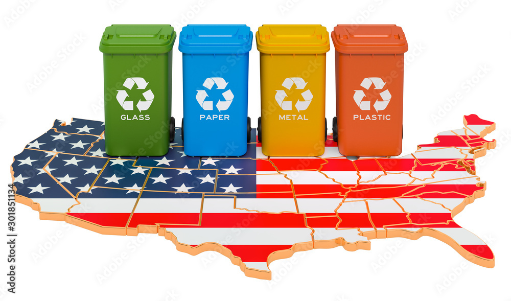 Fototapety, obrazy: Waste recycling in the USA. Colored trash cans on the map of the United States, 3D rendering