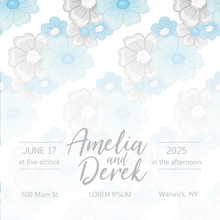 Wedding Floral Background - Blue Floral Pattern