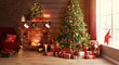 canvas print picture interior christmas. magic glowing tree, fireplace, gifts  .