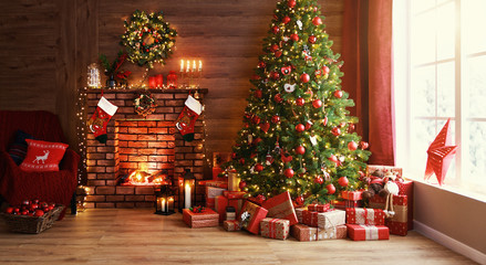Obraz na płótnie Canvas interior christmas. magic glowing tree, fireplace, gifts  .