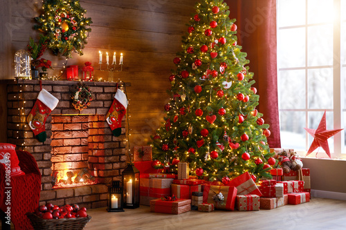 Poster de jardin Pierre, Sable interior christmas. magic glowing tree, fireplace, gifts .