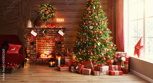 Poster Countryside interior christmas. magic glowing tree, fireplace, gifts .
